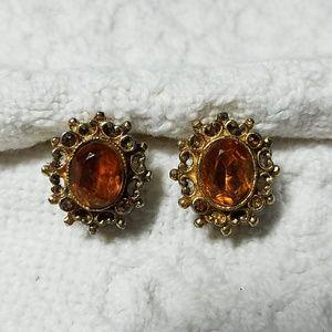Vintage Amber Clip-on Earrings